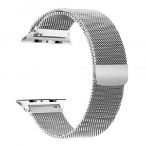 Pulseira Para Apple Watch Magnetico Milanese - Prata 42mm